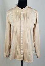 Gap womens S cream shirt button down tuxedo front long sleeve blouse - $16.28