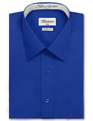 Berlioni Italy Men's Long Sleeve Premium Slim Fit Dress Shirt