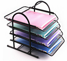 4-Tier Office Document Tray Paper/Magazine Metal Holder (Black) - €33,25 EUR