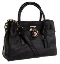 MICHAEL KORS HAMILTON BLACK GOLD LEATHER EW SATCHEL PURSE BAG HANDBAG $2... - $218.00