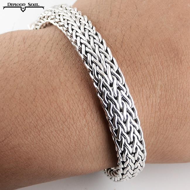 """HEAVY Viking Weave Bracelet Sterling Silver 8.25"""" 10 mm Wide Bali Handcrafted"""