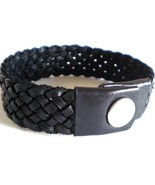 BLACK HAND MADE QUALITY REAL LEATHER PLAITED BRACELET WOVEN WITH PRESS STUD - $13.80