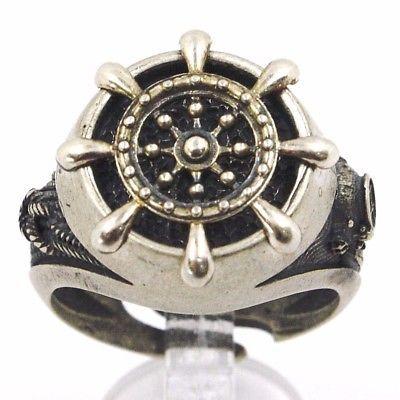925 Silber Ring, Brüniert und Matt, Ruder, Seil Nautica, Taucher
