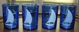 "4 Vintage Hazel Atlas Cobalt Blue Sailboat Juice Glasses 4"" x 2-3/4"" - $30.40"