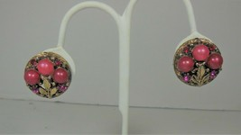Gold Tone & Pink Bead Floral Earrings - $10.88
