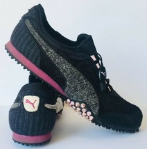 Puma Womens Athletic Running Shoe Sneaker Canvas Black Grey/Pink Sz 11 - $39.59