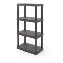 4-Tier Plastic Freestanding Shelving Unit Garage Storage Heavy Duty Durable New - $29.00