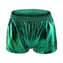 Men's sexy underwear faux leather metallics green boxer briefs panties - $20.00