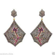 Diamond Pave Ruby Gemstone Flower Tree Dangle Women Earrings 925 Sterlin... - $1,153.75