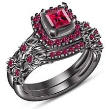 Pink Sapphire Black Gold Finish Pure 925 Silver Women's Wedding Bridal Ring Set - $97.99