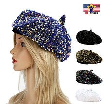 Women Artist Beret Sparkle Shiny Sequins Casual Hat French Beanie Light ... - $14.98