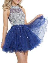 Short Prom Dresses Royal Blue 2017 Sexy A Line High Neck Tulle Homecoming Dress - $133.00
