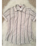 The North Face Women's Top Size M White Purple Striped Button Down Short... - $22.76