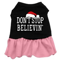 Don't Stop Believin' Screen Print Dress Black with Pink Lg (14) - $13.48