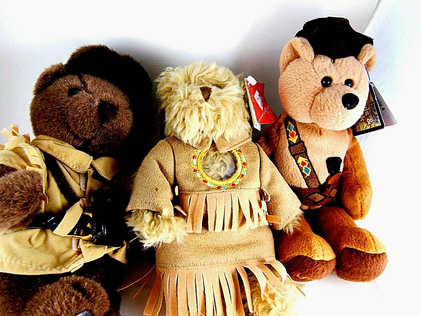 Primary image for Daniel Boone Sacagawea Meriwether Lewis teddy bears with baby papoose 9""