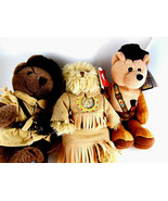 """Daniel Boone Sacagawea Meriwether Lewis teddy bears with baby papoose 9"""" - $21.77"""