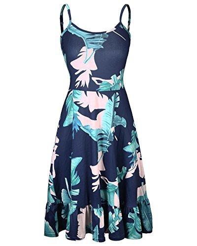 KILIG Women's Floral Print Sundress Adjustable Strappy Sleeveless Summer Swing D