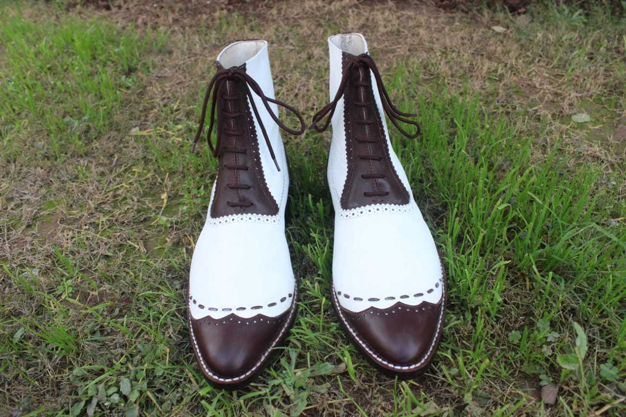 Handmade Men's White and Brown Leather High Ankle Lace Up Dress/Formal Leath