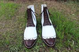 Handmade Men's White and Brown Leather High Ankle Lace Up Dress/Formal Leath image 1