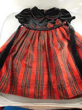 Good Lad Black washable Velvet & Plaid Taffetta Dress w red under pettic... - $19.79