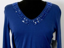 Liz Claiborne Sweater Royal Blue Knit Top Petite NEW *  Bling Stones V N... - $35.99