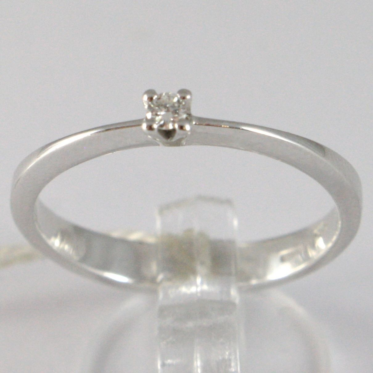 WHITE GOLD RING 750 18K, SOLITAIRE WITH DIAMOND, CT 0.05, MADE IN ITALY