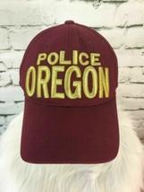 Oregon Police Unisex One Sz Hat Maroon Red Strapback Adjustable Cotton Ball Cap - $13.85
