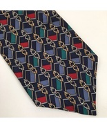 Christian Dior Blue Multi Color Print silk men's business Tie - $14.95