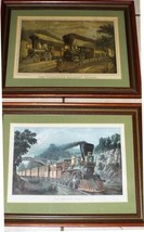 Pair of Framed & Matted Train Prints Currier & Ives Reprint Lightning Ex... - $65.31