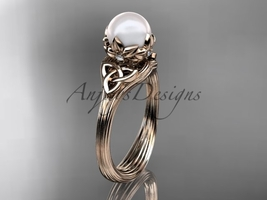 Pearl Triquetra Celtic Knot Bridal Ring 14kt Rose Diamond Wedding Ring CTP7240 - $650.00