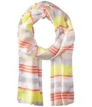 Calvin Klein Women's Plaid Geo Koi Shadow Stripe Scarf Neck Wrap, Orange... - $20.00