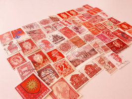 50 Red Postage Stamps - Worldwide lot - $5.00