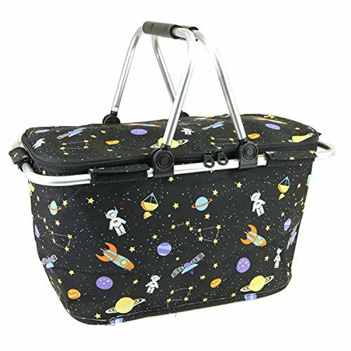 scarlettsbags Galaxy Space Print Metal Frame Insulated Market Tote Black