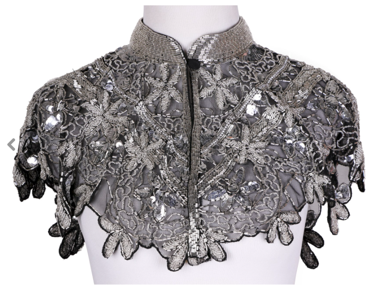 Primary image for Sequin Beaded FULL Collar Shoulder Shrug Shawl Wrap Applique Black/Silver