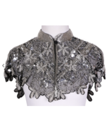 Sequin Beaded FULL Collar Shoulder Shrug Shawl Wrap Applique Black/Silver - $64.99