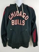 Chicago Bulls Adidas Trefoil Black Vintage Look Zip Up Hoodie Jacket M - $31.03