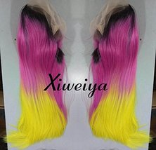 Xiweiya Dark root silky straight Heat Resistant Fiber Middle part mermaid ombre  image 2