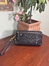 Coach Wallet Poppy Sequin Signature Double Zip Wristlet F50275 Black W20 - $87.07