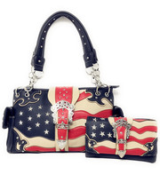 Texas West American Flag Rhinestone Women Leather Concealed Bag in 6 col... - $41.79