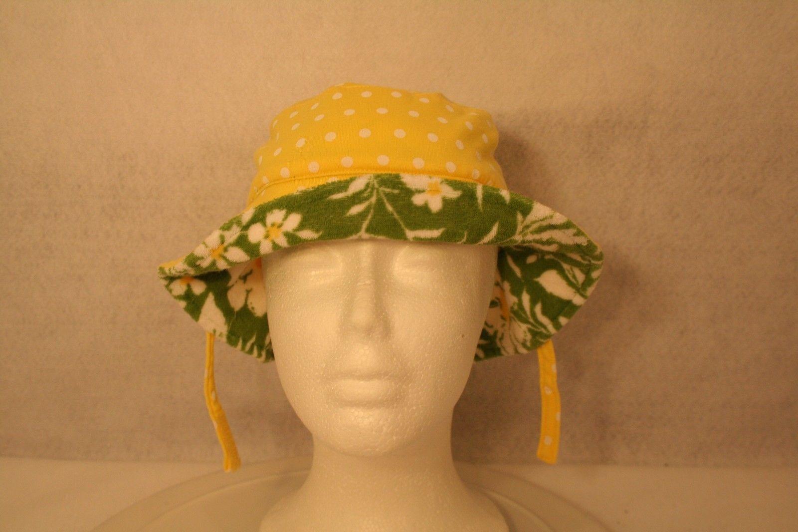 Janie & Jack Child Reversible Sun Hat Green daisy yellow polka dot w/adjust ties image 4