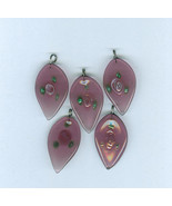 Leaf Shaped Purple  Pendant With Rose Czech - $6.00