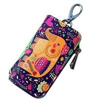 Cartoon Women's Key Bag Printing Graffiti Leather Zipper Key Case, Elephant