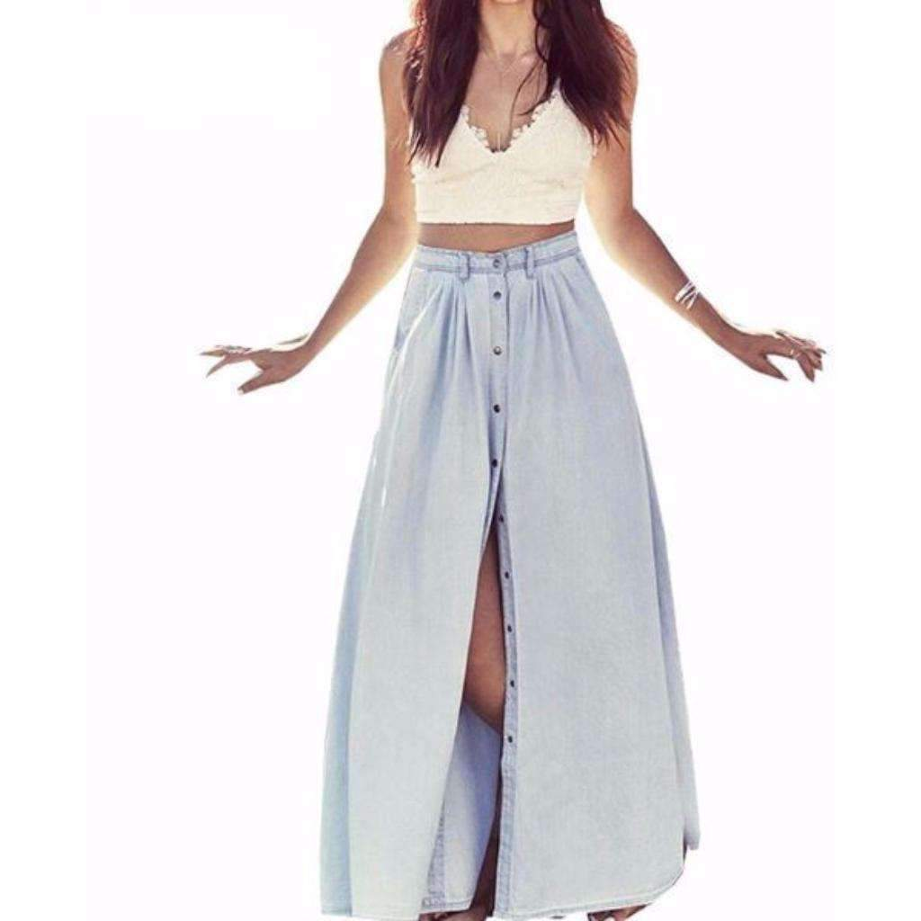 Daisy dress for less maxi skirts denim button loose women long summer skirt 1391817981983