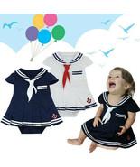 Baby Kid Toddler Girls Navy Blue & White Sailor Marine Fancy Dress Party... - $23.50