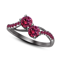 Pink Sapphire Black Gold Plated 925 Sterling Silver Two Stone Engagement... - $86.99