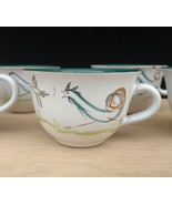 Signed Albert A. College Denby Stoneware Flair Tea Cups Rooster Bird Chi... - $39.27