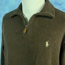 Polo Ralph Lauren 1/4 Zip Pullover Sweatshirt Brown Cotton Sweater Jumper Mens M - $29.65