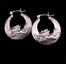 Vintage cupid earrings / sterling mystical hoops / bow & arrow/ sweetheart jewel - $125.00
