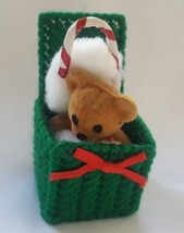 Christmas Ornament Hand Knit Knitted Vintage Yarn Teddy Bear Jack in Box... - $15.79