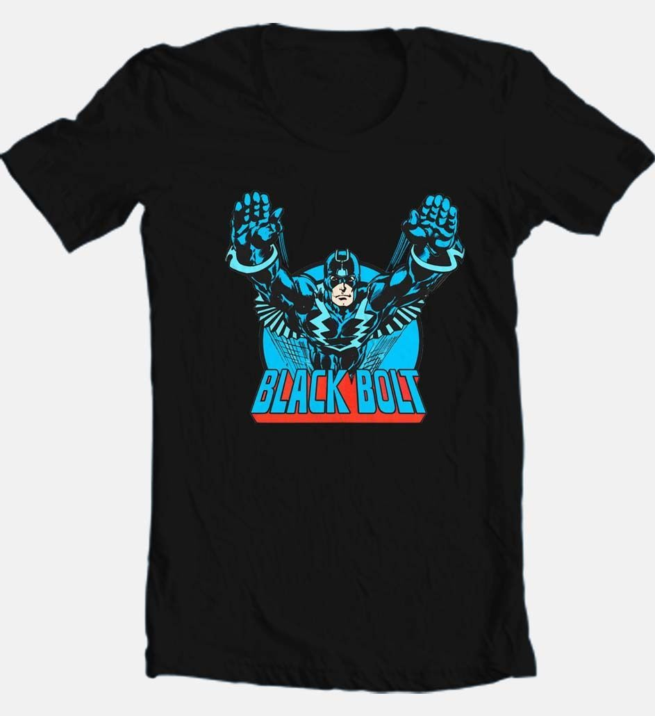 Black bolt comic book superhero retro cotton tshirt for sale online graphic tee